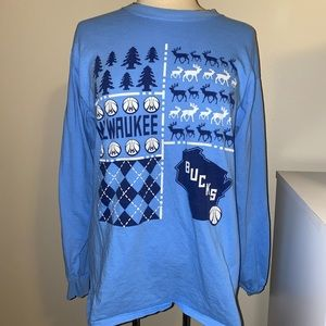 NBA Milwaukee Bucks blue long sleeve T-shirt